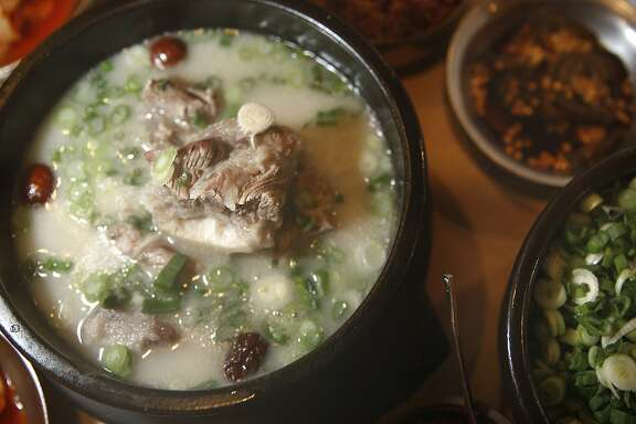 Gom tang, or oxtail soup, seen at Seoul Gom Tang in Oakland's Temescal neighborhood in Oakland, Calif., on Monday, February 9, 2015.