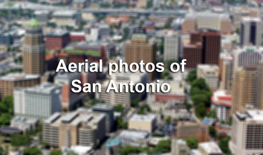 Downtown San Antonio looking toward the west is seen in this Wednesday Aug. 1, 2012 aerial image.
