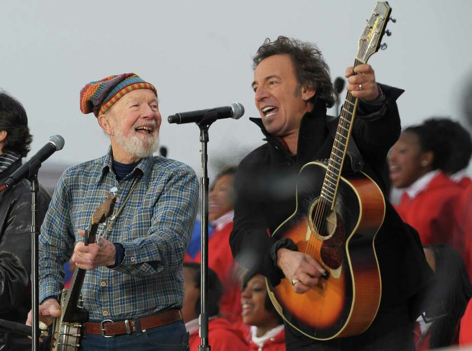 """Pete Seeger (L) and Bruce Springsteen (R) performed little-known verses of """"This Land in Your Land"""" during the We are One Inaugural Celebration at the Lincoln Memorial on Jan. 18, 2009. Photo: MANDEL NGAN, Staff / AFP"""