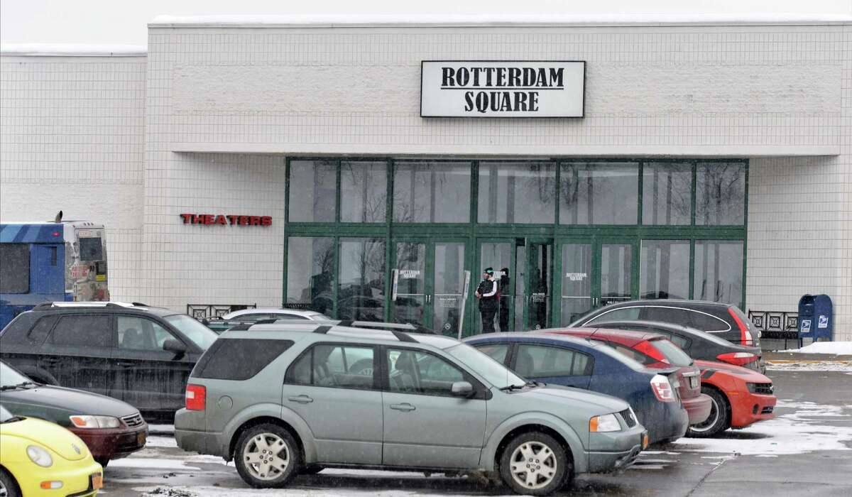 Rotterdam Square Mall entrance Thursday, Feb. 12, 2015, in Rotterdam, NY. National Grid confirmed Thursday that power was shut off at the Rotterdam Square Mall Thursday morning due to a still-unpaid electricity bill. (John Carl D'Annibale / Times Union)