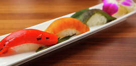 From top: smoked bean curd, okra and bell pepper nigiri at Shizen Vegan Sushi Bar and Izakaya.