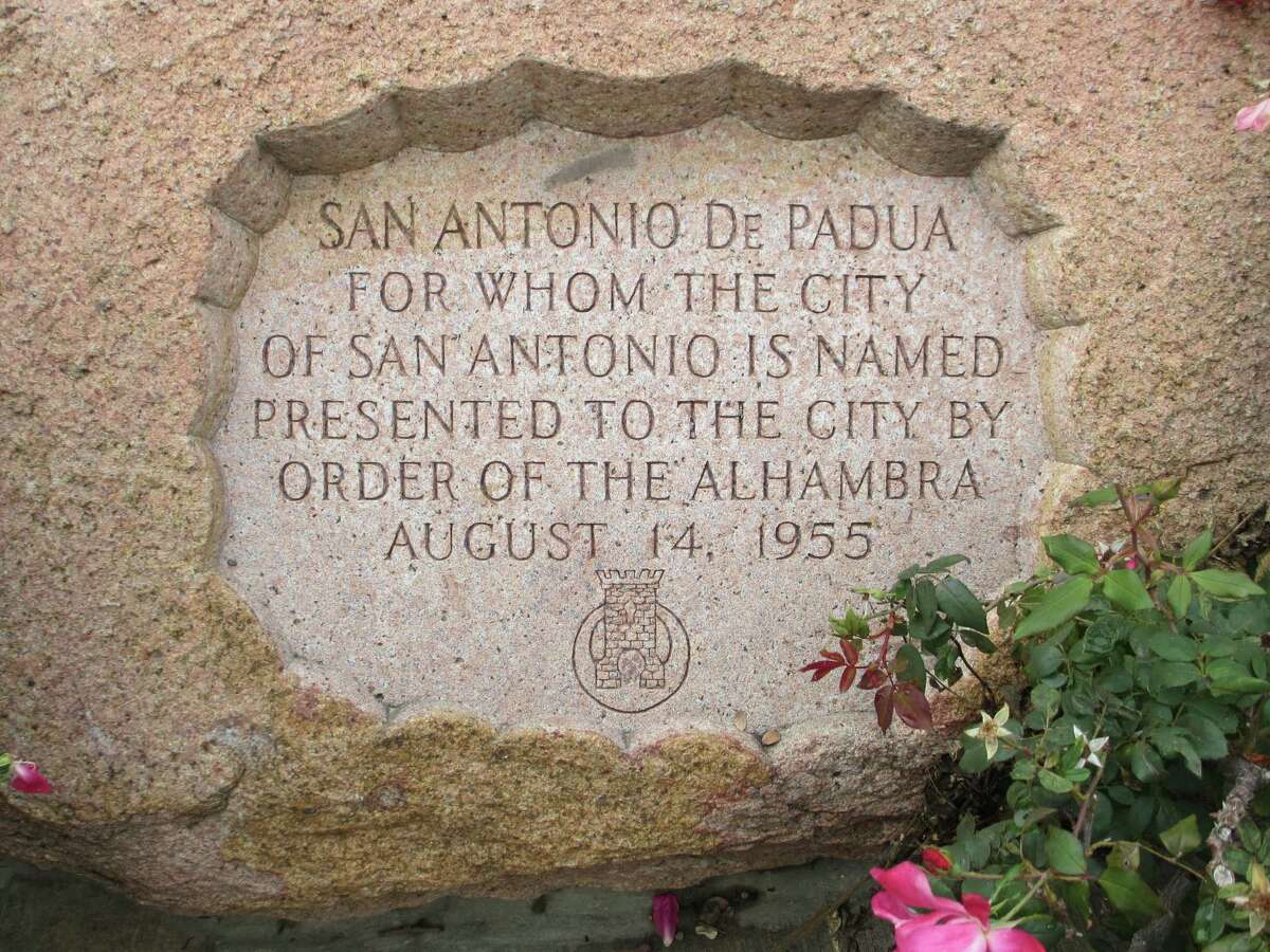 The base of the statue of Saint Anthony of Padua near San Fernando Cathedral notes that the statue was a gift to the city by the Order of the Alhambra in 1955.