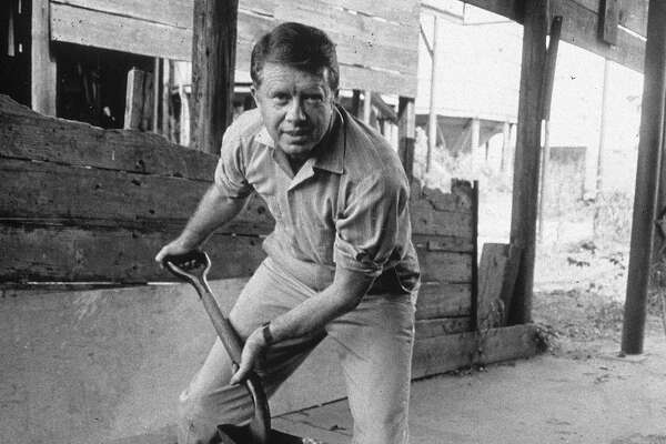 American politician Jimmy Carter looks up while shoveling peanuts on a peanut farm, 1970s.