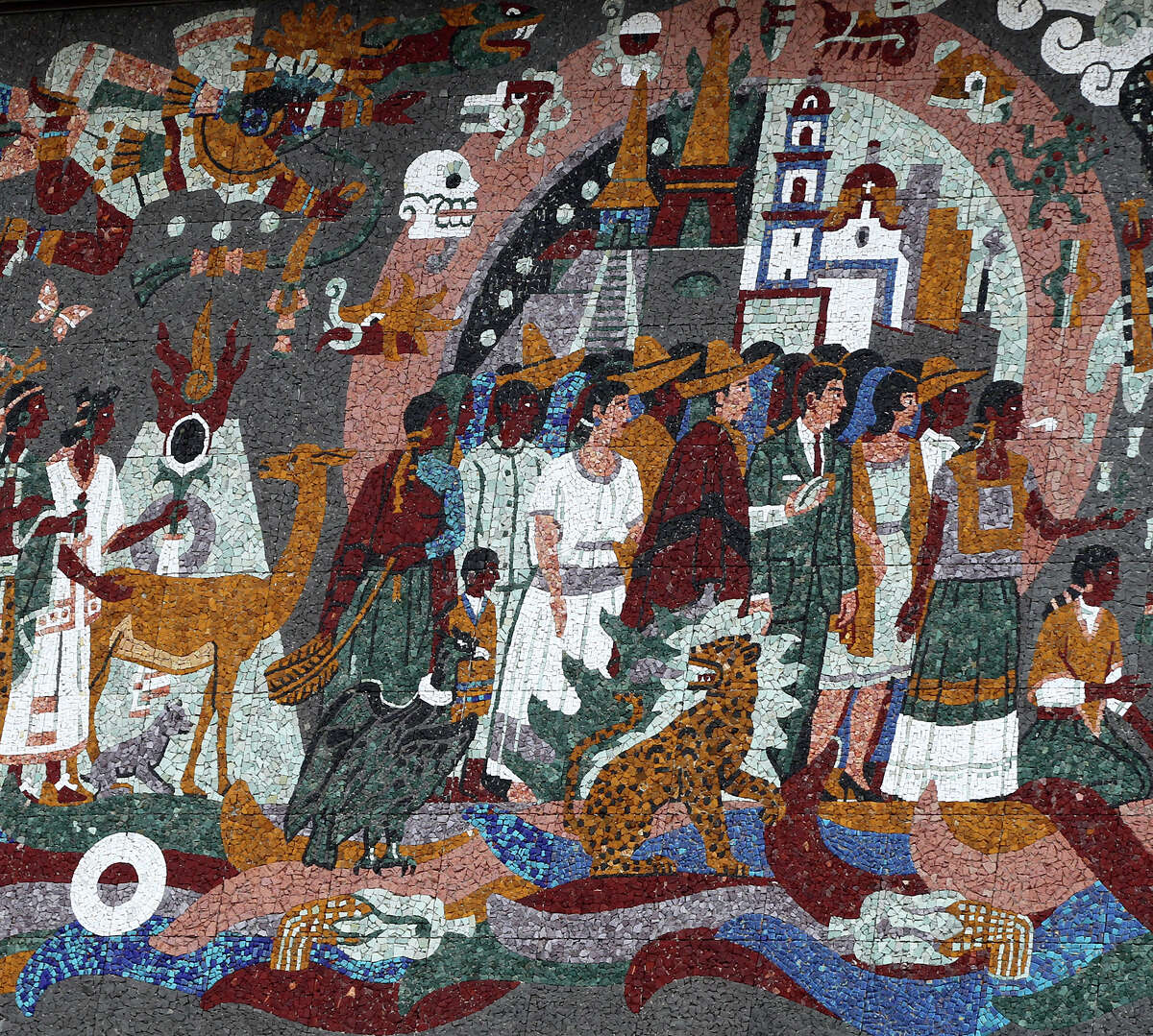 """This is a section of the """"Confluence of Civilization in the Americas"""" mural made of tile on the Henry B. Gonzalez Convention Center."""