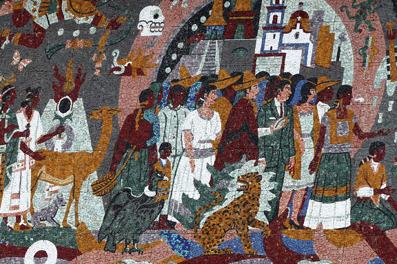 "This is a section of the ""Confluence of Civilization in the Americas"" mural made of tile on the Henry B. Gonzalez Convention Center."
