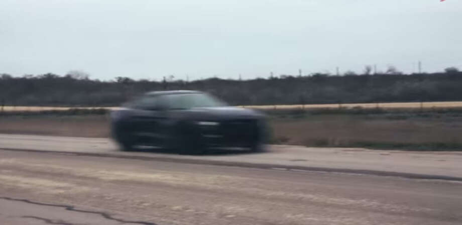 A Hennessey Performance-engineered Ford Mustang hits 195 mph on a Texas test track near Uvalde.