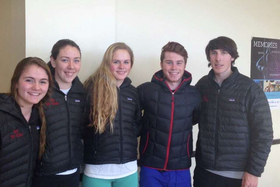 Greenwich High ski captains, from left to right: Brittany Loveless, Meg Robinson, Isabella Pehrson, Joe DeMuyt and Zach Moran. February 2015 Photo: Contributed Photo / Greenwich Time Contributed