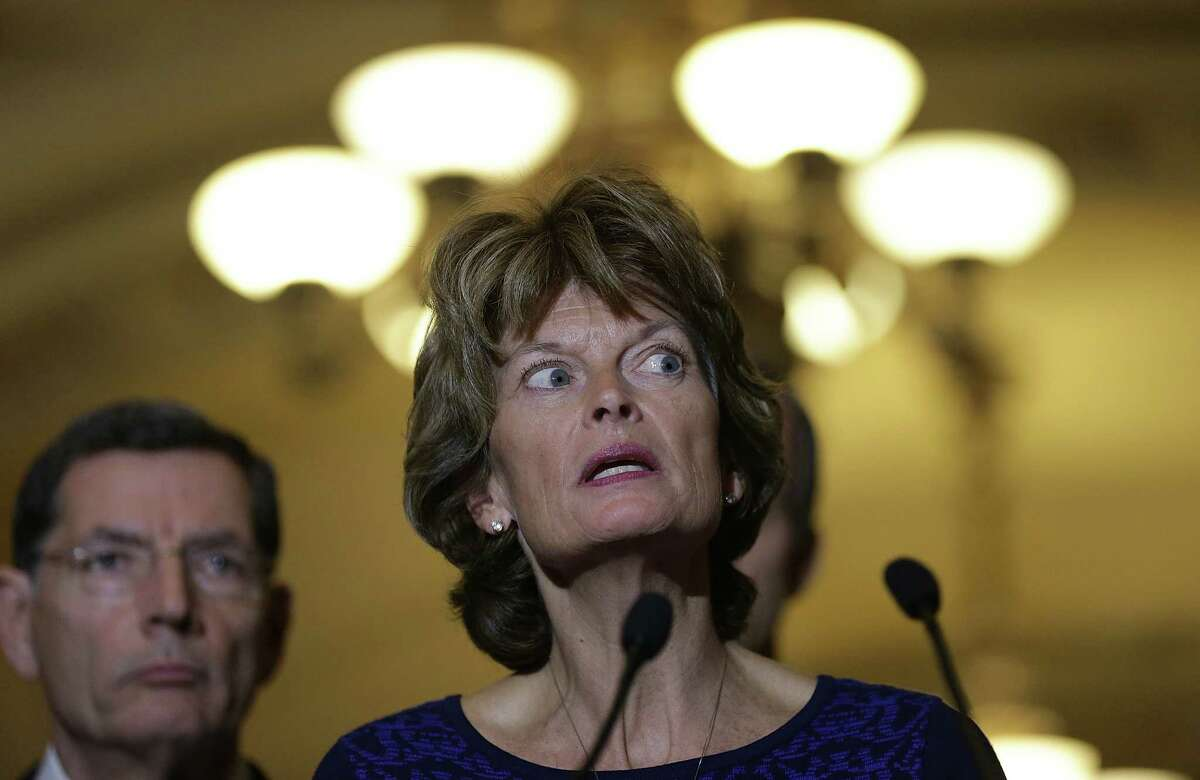Sen. Lisa Murkowski (R-AK) speaks to reporters outside the Senate chamber following a luncheon for Republican members of the Senate January 27, 2015 in Washington, DC. (Photo by Win McNamee/Getty Images)