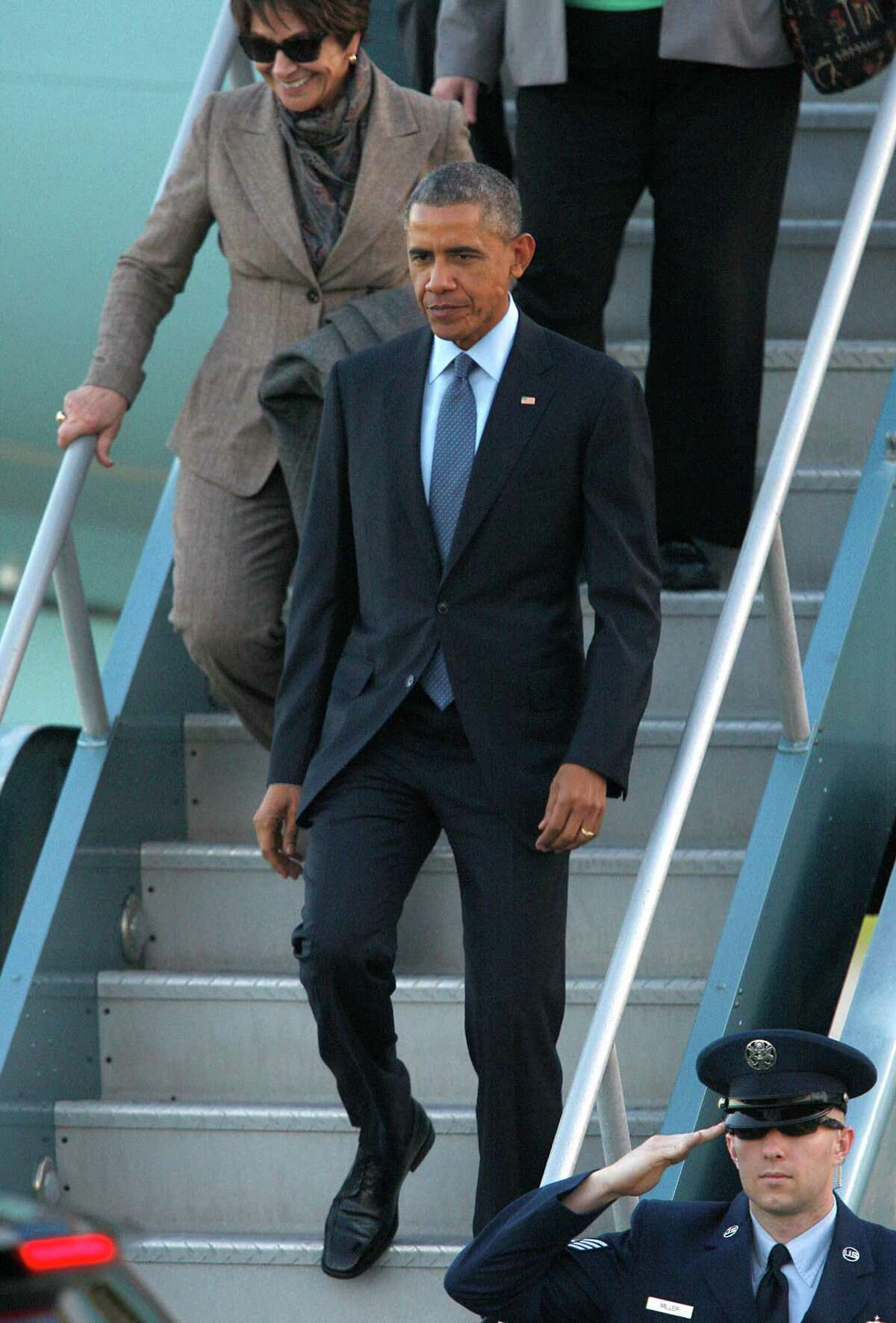 President Obama arrives at San Francisco International Airport on Feb. 12.