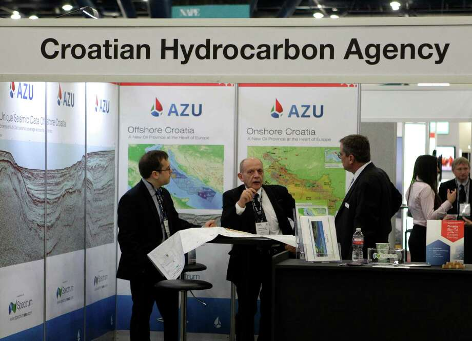 The Croatian Hydrocarbon Agency is among those with booths at the North American Prospect Expo. Photo: Melissa Phillip, Staff / © 2014  Houston Chronicle