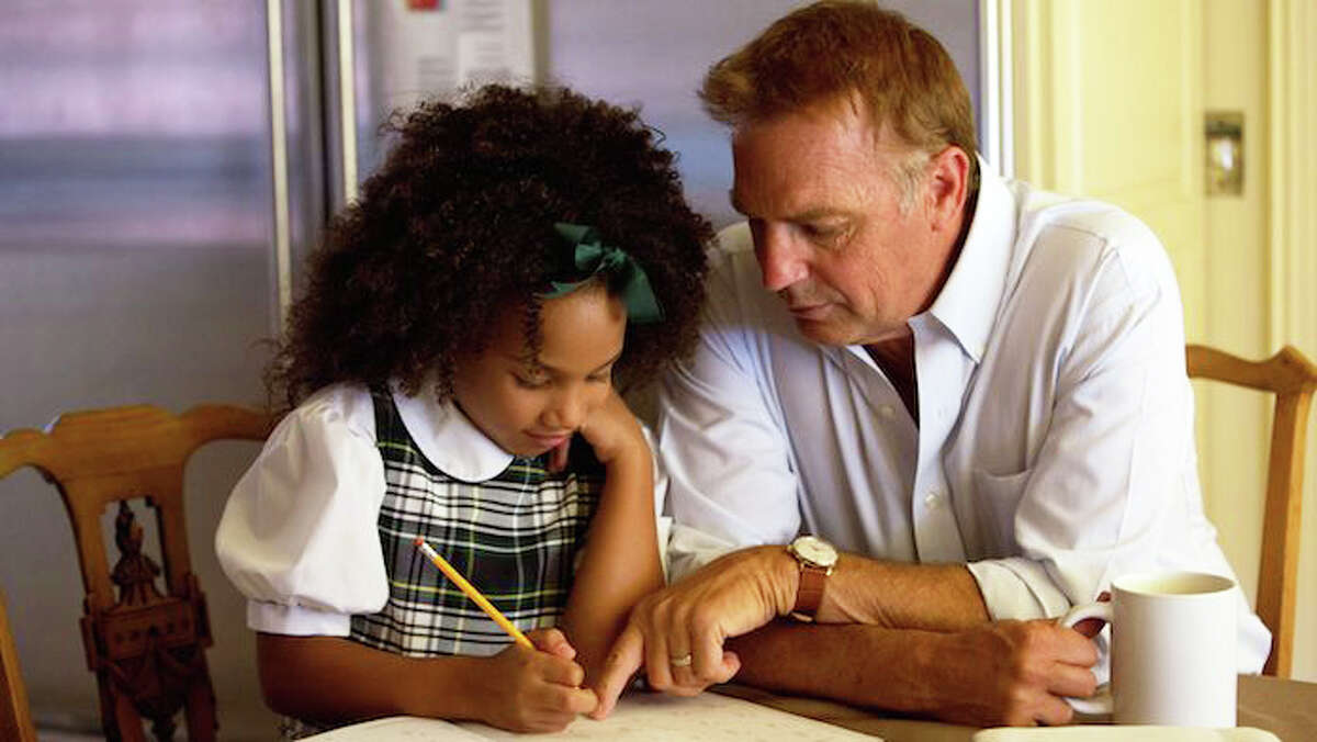 Kevin Costner portrays the widowed grandfather of 7-year-old Eloise, played by Jillian Estell, in the movie,