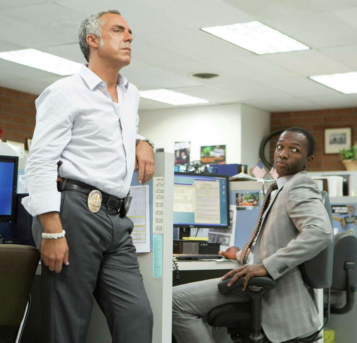 Titus Welliver, left, plays a tough Los Angeles homicide cop along with Jamie Hector in Amazon's