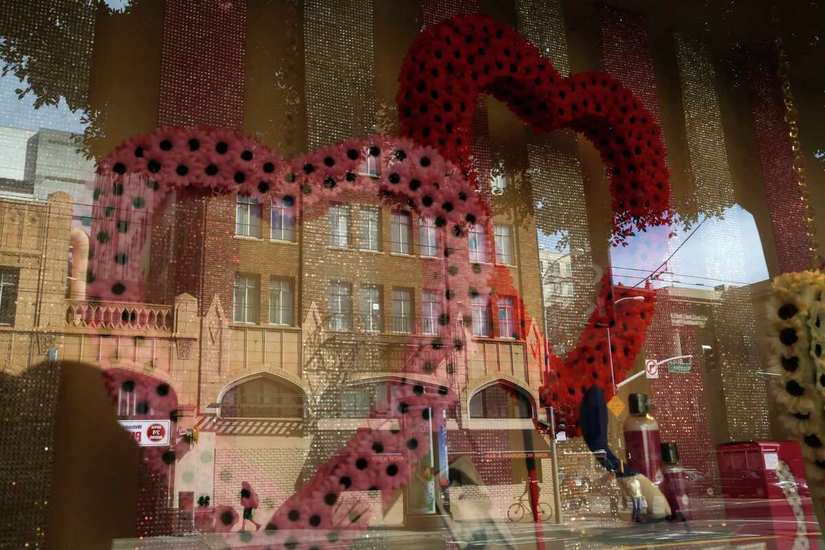 The Good Vibrations store on Mission Street in San Francisco features a Valentine's Day-theme window display.