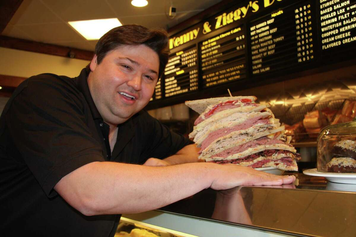"""Ziggy Gruber with his massive Zellagabetsky sandwich in the film, """"Deli Man."""" Gruber announced he is opening a second deli in the West University neighborhood in February 2016."""