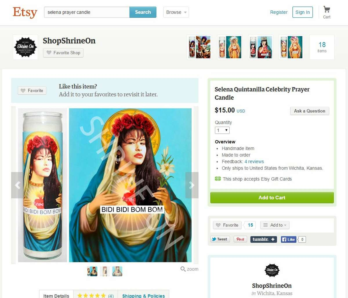 3. It may be sacrilegious to some, but a Selena prayer candle does exist. Source: Etsy