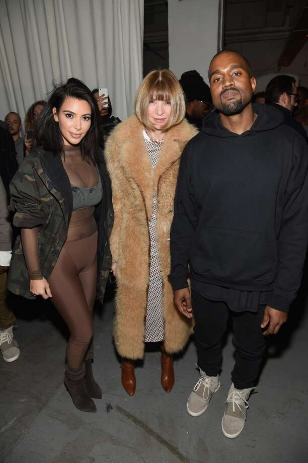 (L-R) Kim Kardashian, Anna Wintour, and Kanye West pose backstage at the adidas Originals x Kanye West YEEZY SEASON 1 fashion show during New York Fashion Week Fall 2015 at Skylight Clarkson Sq on February 12, 2015 in New York City.  (Photo by Dimitrios Kambouris/Getty Images for adidas) Photo: Dimitrios Kambouris, Getty Images For Adidas