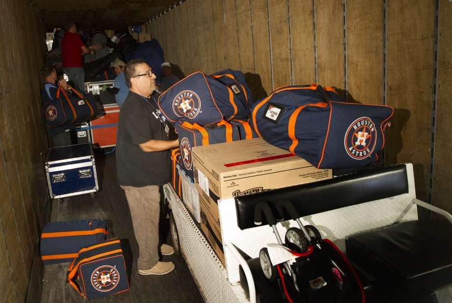 The Astros loaded up their equipment truck Friday for the annual trip to spring training in Kissimeee, Fla. Photo: Cody Duty, Houston Chronicle