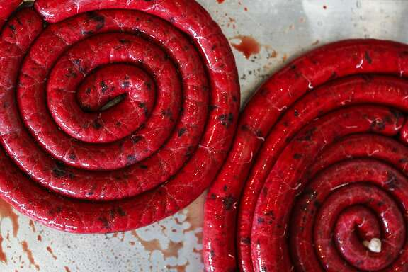 Blood sausage is seen at The Local Butcher Shop in Berkeley. The sausages will be poached, then cooled overnight to ready for sale the next day.