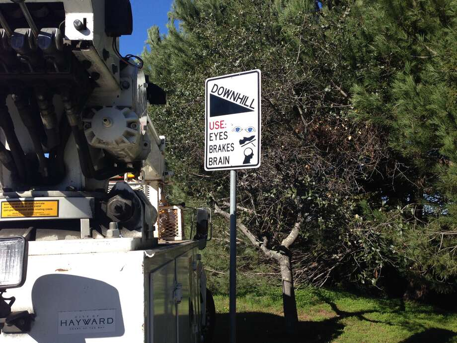 In late January, the city of Hayward debuted several unconventional traffic signs along Hayward Boulevard. Photo: City Of Hayward / ONLINE_YES