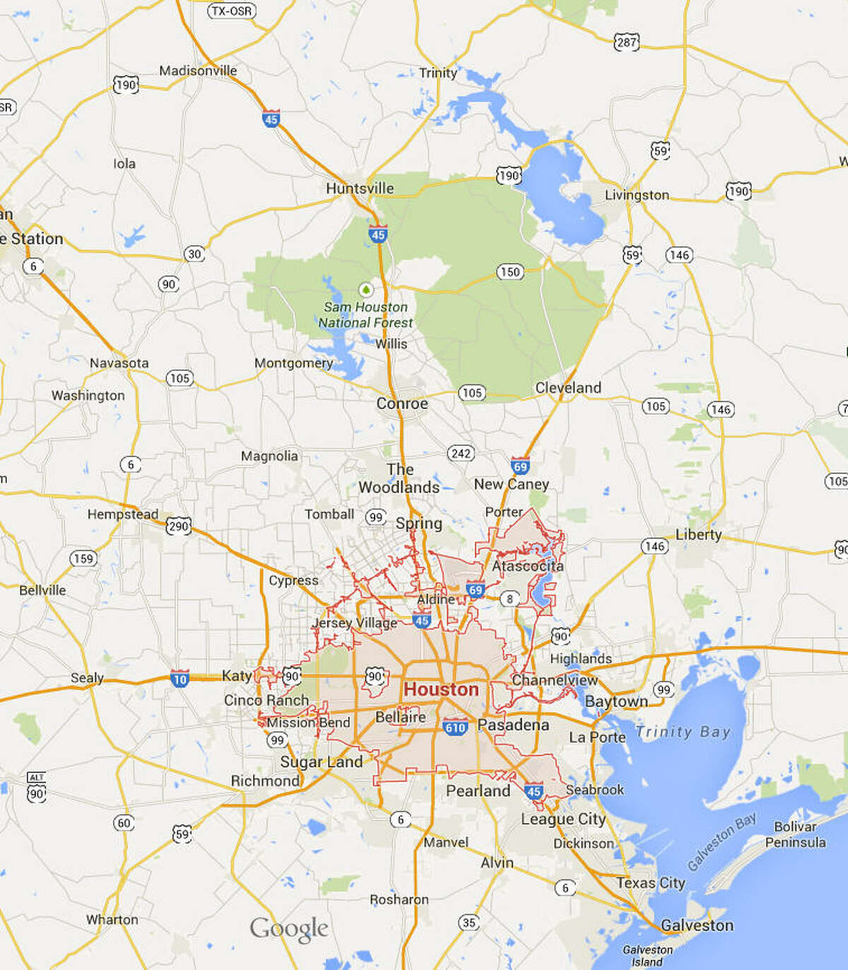 Houston Population: 2.2 million From Google Maps