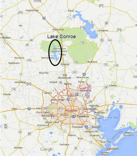 Houston lake conroe from google maps photo for Lake conroe fishing spots