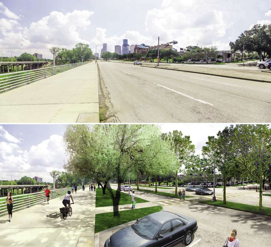 Before (top) and after renderings of Allen Parkway looking east at Taft Street. The City of Houston and Downtown Houston Management District have announced a $10 million renovation to Allen Parkway that will include shifting the lanes to make the current westbound lane a feeder lane to increase parking along the Buffalo Bayou Trail system.