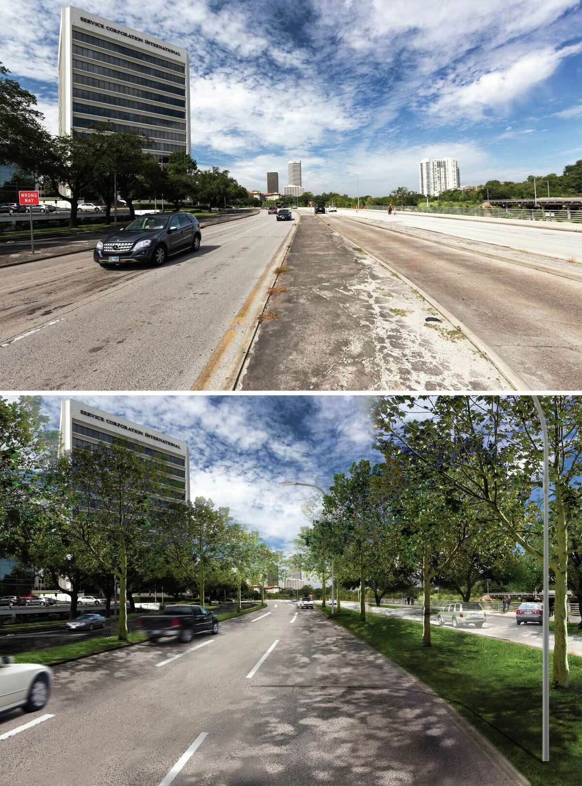 Before (top) and after renderings of Allen Parkway looking west at Taft Street. The City of Houston and Downtown Houston Management District have announced a $10 million renovation to Allen Parkway that will include shifting the lanes to make the current westbound lane a feeder lane to increase parking along the Buffalo Bayou Trail system. Rendering by SWA
