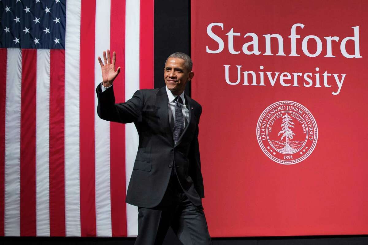2. Stanford University Pictured: President Barack Obama waves as he arrives to deliver remarks during a summit on cybersecurity and consumer protection at Stanford University, Friday, Feb. 13, 2015, in Palo Alto, Calif. (AP Photo/Evan Vucci)