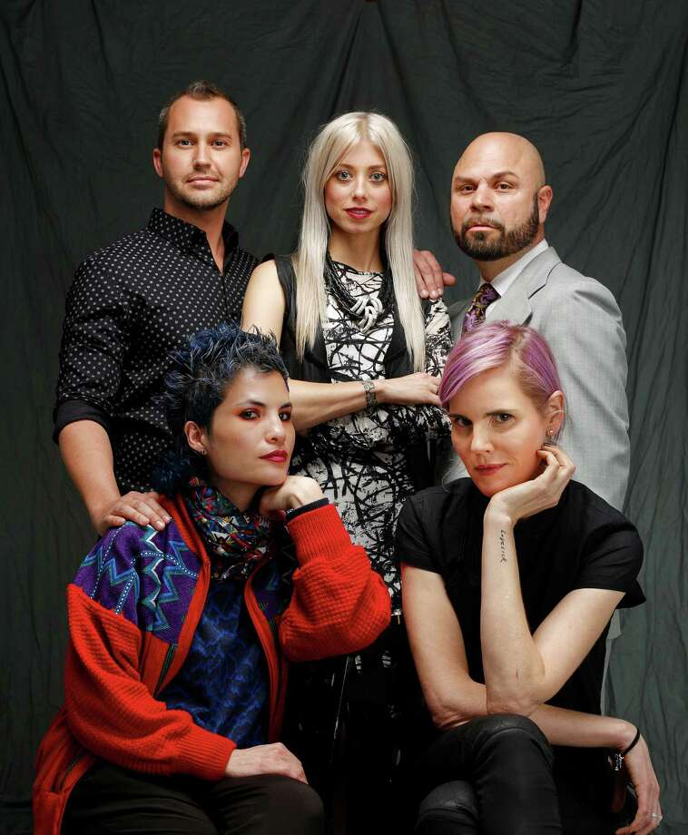 """""""Project Runway"""" alumni (clockwise from front left) Emily Payne, Christopher Collins, Melissa Fleis, Richard Hallmarq and Alexandria von Bromssen. Photo: Russell Yip / The Chronicle / ONLINE_YES"""