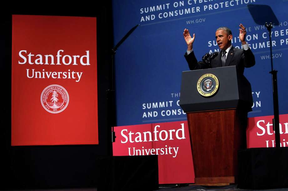 President Obama delivers keynote remarks at the White House Summit on Cybersecurity and Consumer Protection at Stanford University on Friday, February 13. Photo: Scott Strazzante / The Chronicle / ONLINE_YES
