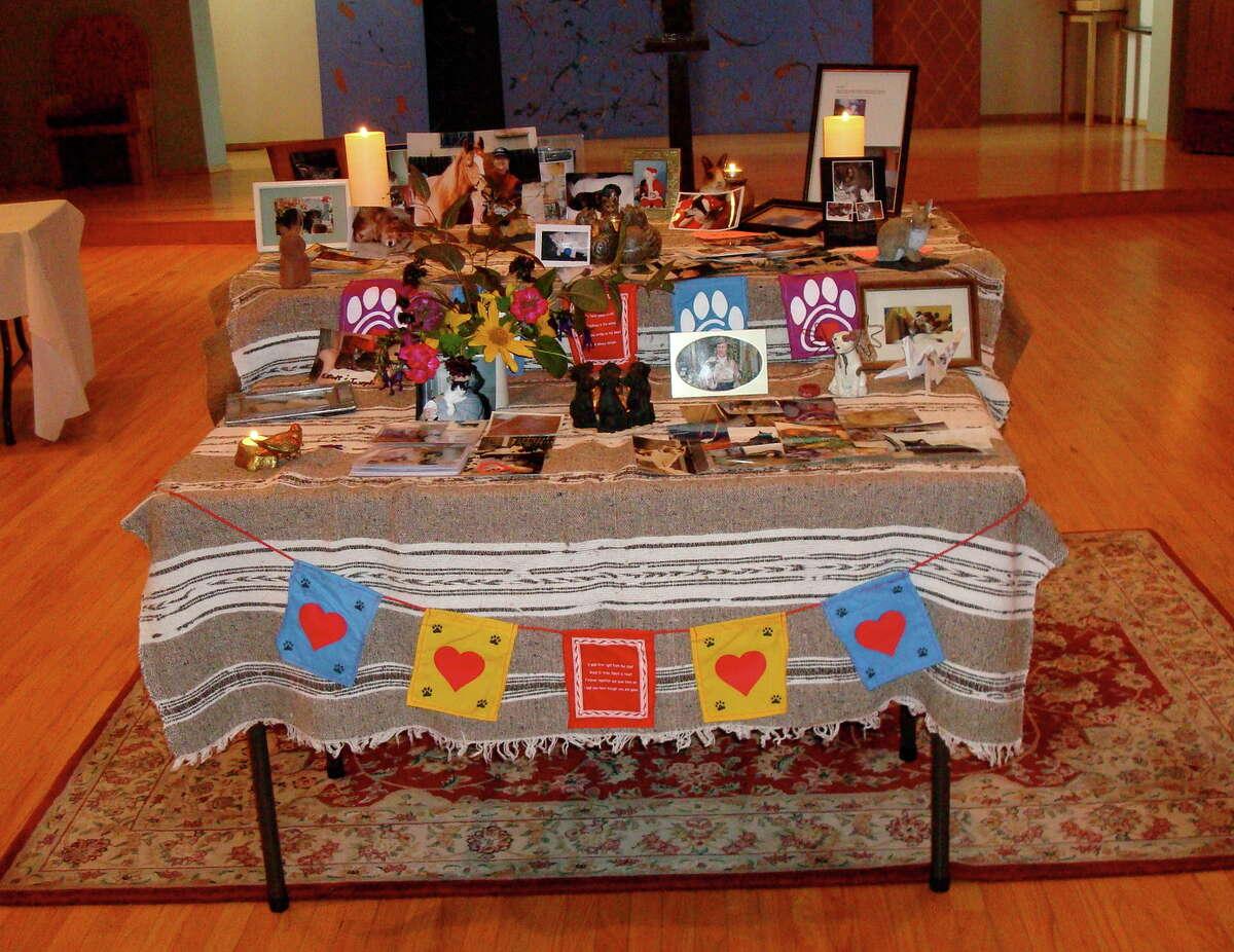 An altar at the annual Interfaith Companion Animal Memorial Service at St. Aidan's in S.F.