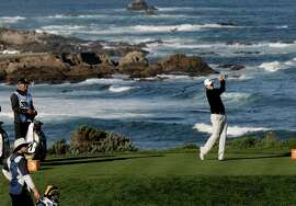 Brandt Snedeker tees off on the oceanside fourth hole at Spyglass Hill. He parred that hole but carded birdies on five others during a bogey-free round of 67.