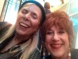 Joni Mitchell (left) and Kitty Margolis at Clive Davis' pre-Grammys party.