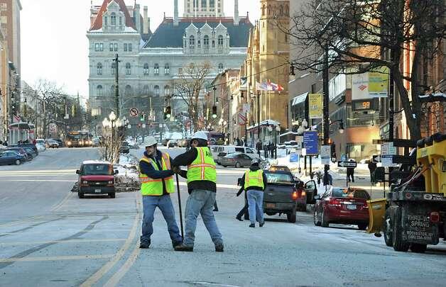 Part of lower State St. is closed due to a water leak on Friday, Feb. 13, 2015 in Albany, N.Y. (Lori Van Buren / Times Union) Photo: Lori Van Buren / 00030608A