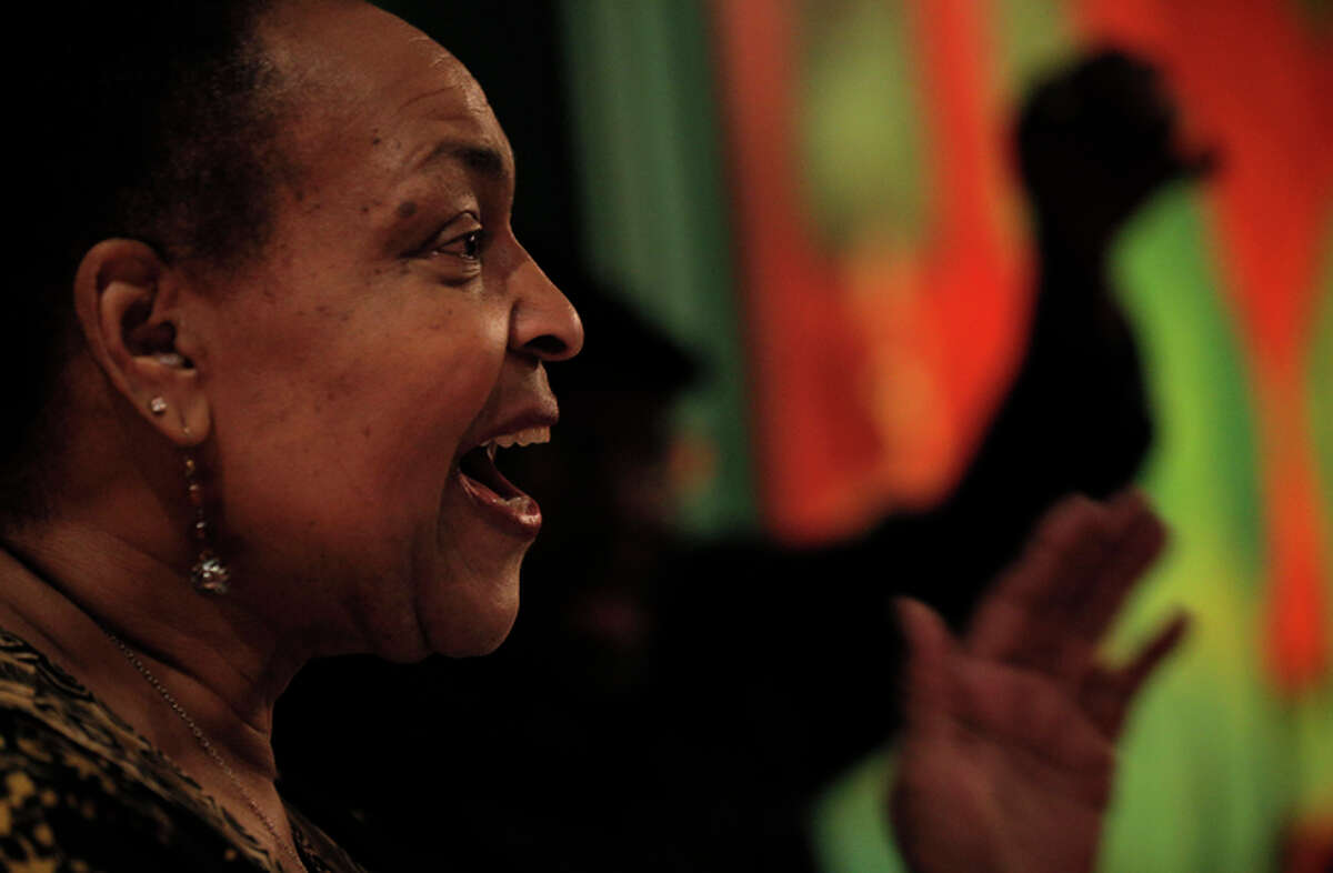 Linda Tillery sings during rehearsal for the Linda Tillery and Cultural Heritage Choir at the Montclair Women's Cultural Arts Club in Oakland, Calif., on Thursday, January 29, 2015. Tillery is a veteran Bay Area singer who's equally adept a rock, jazz, soul and gospel music. She sang with Bobby McFerrin's Voicestra, and founded the Cultural Heritage Choir and is still active after 50 years on the scene.