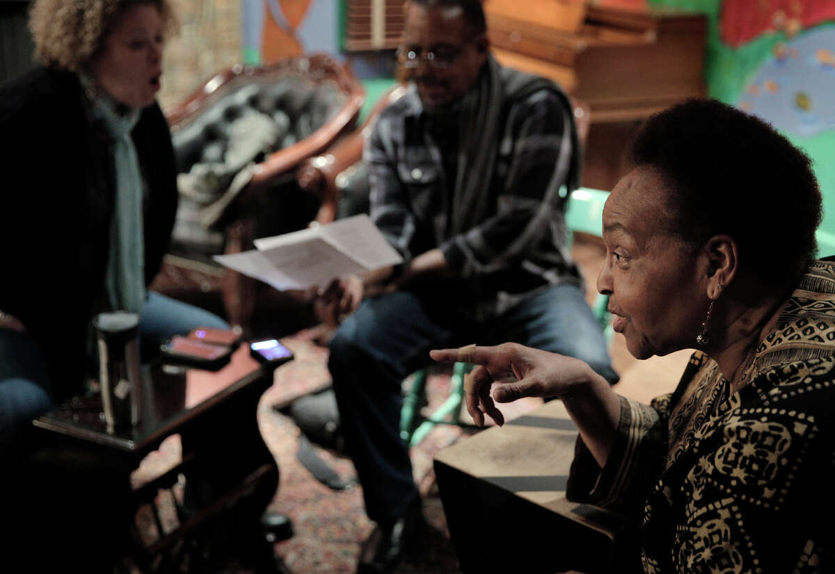 Linda Tillery (right), a Bay Area singer and musician for 50 years, discusses a song with Tammi Brown (off camera) during rehearsal for the Linda Tillery and Cultural Heritage Choir at the Montclair Women's Cultural Arts Club in Oakland.