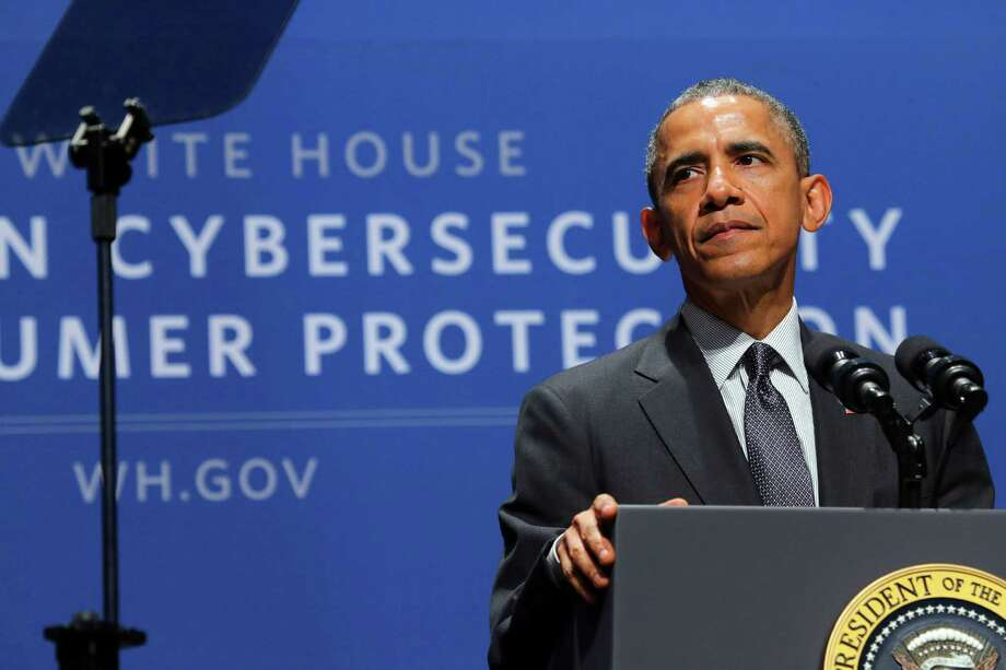 President Barack Obama speaks Friday during the Summit on Cybersecurity and Consumer Protection at Stanford University in Palo Alto, Calif. Obama visited California on Friday to meet with the nation's top technologists on a host of cybersecurity issues. Photo: Jim Wilson /New York Times / NYTNS