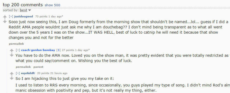 Rod Ryan Show's fired co-host spills guts on Reddit