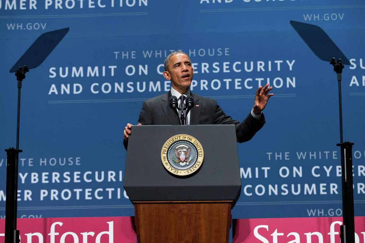 President Barack Obama speaks during a summit on cybersecurity and consumer protection, Friday, Feb. 13, 2015, at Stanford University in Palo Alto, Calif. The president said cyberspace is the new