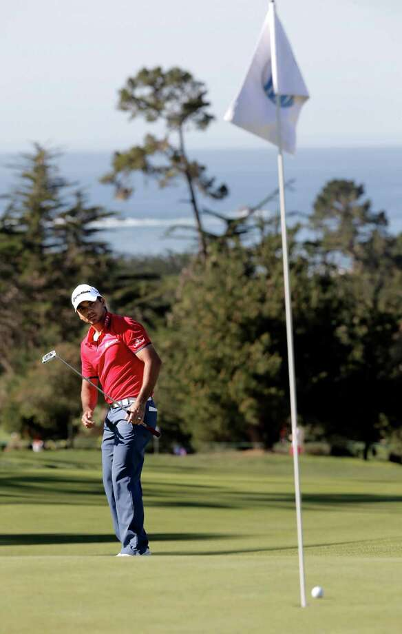Jason Day, who played despite flu symptoms, watches his putt stop short on No. 16 at Monterey Peninsula's Shore Course. Photo: Michael Macor / The Chronicle / ONLINE_YES
