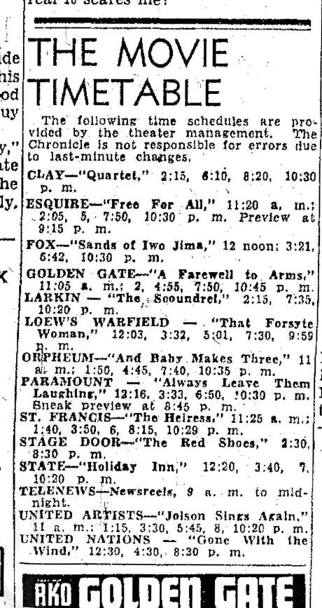 The San Francisco's movie timetable for Jan. 9, 1950, featuring mostly theaters on Market Street. Photo: Chronicle Archives / The Chronicle / ONLINE_YES