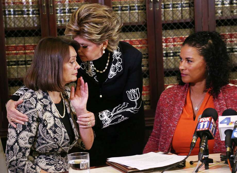 Attorney Gloria Allred (center) with clients Linda Brown (left) and Lise-Lotte Lublin, the latest women to accuse comedian Bill Cosby of sexual misconduct. Photo: Frederick M. Brown /Getty Images / 2015 Getty Images