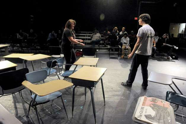 Schenectady High School students Madison Weatherwax, lewft, and Devin Guilfoyle do an improve piece during Mr. Ziskin's theater class on Thursday Feb. 5, 2015 in Schenectady , N.Y.  (Michael P. Farrell/Times Union) Photo: Michael P. Farrell / 00030450A