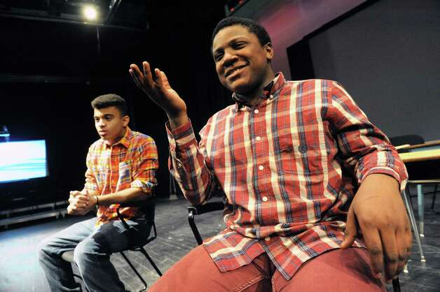 Schenectady High School students Joshua Powell, left, and Christopher Rogers do an improve piece during Mr. Ziskin's theater class on Thursday Feb. 5, 2015 in Schenectady , N.Y.  (Michael P. Farrell/Times Union) Photo: Michael P. Farrell / 00030450A