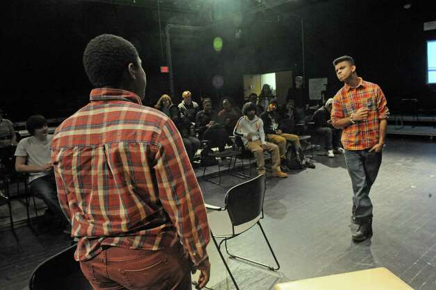 Schenectady High School students Joshua Powell, lright, and Christopher Rogers do an improve piece during Mr. Ziskin's theater class on Thursday Feb. 5, 2015 in Schenectady , N.Y.  (Michael P. Farrell/Times Union) Photo: Michael P. Farrell / 00030450A