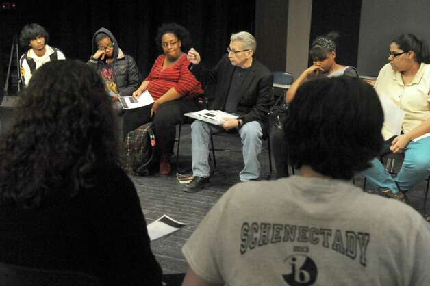Schenectady High School theater teacher Bill Ziskin, center, teaches a improve acting class on Thursday Feb. 5, 2015 in Schenectady , N.Y.  (Michael P. Farrell/Times Union) Photo: Michael P. Farrell / 00030450A