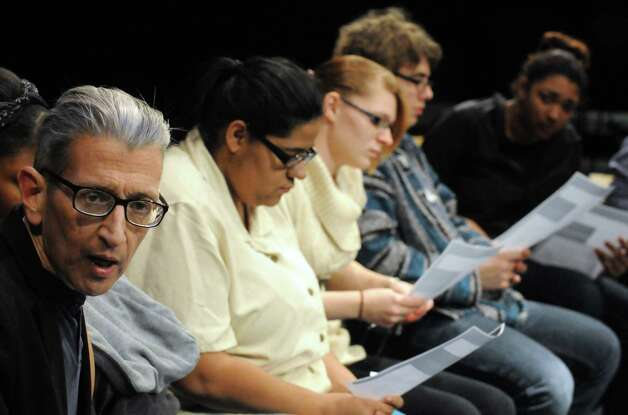 Schenectady High School theater teacher Bill Ziskin, left, teaches a improve acting class on Thursday Feb. 5, 2015 in Schenectady , N.Y.  (Michael P. Farrell/Times Union) Photo: Michael P. Farrell / 00030450A