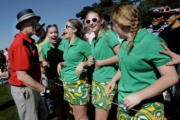 Bill Murray took a break to chat with members of the Live Oak High girls golf team at the Pebble Beach Golf Links.