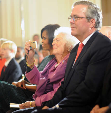 """We've had enough Bushes,"" Barbara Bush shot back when asked in 2013 about son Jeb Bush running in 2016. Photo: Tim Sloan /Getty Images / 2011 AFP"
