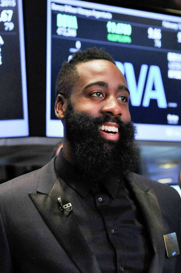 """James Harden found ringing the bell at the New York Stock Exchange to be an """"unbelievable experience."""" Photo: Kris Connor, Contributor / 2015 Kris Connor"""